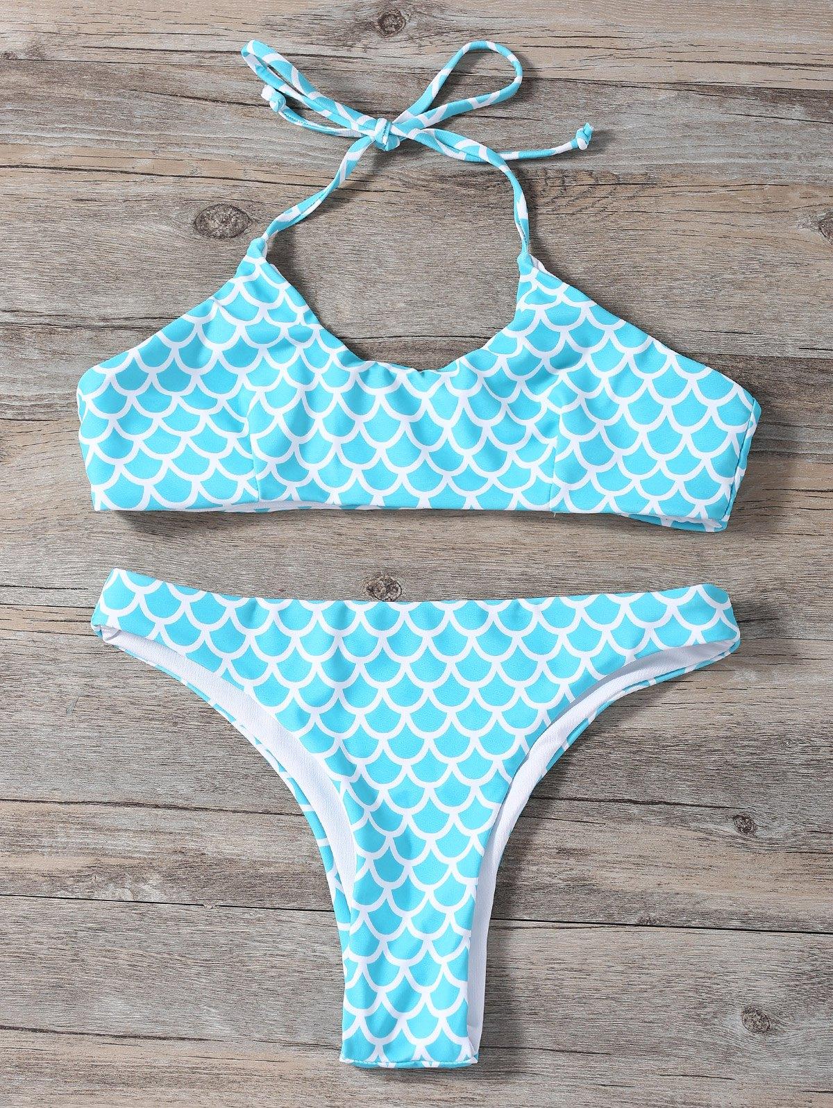 Fish Scale Print Halter Bikini