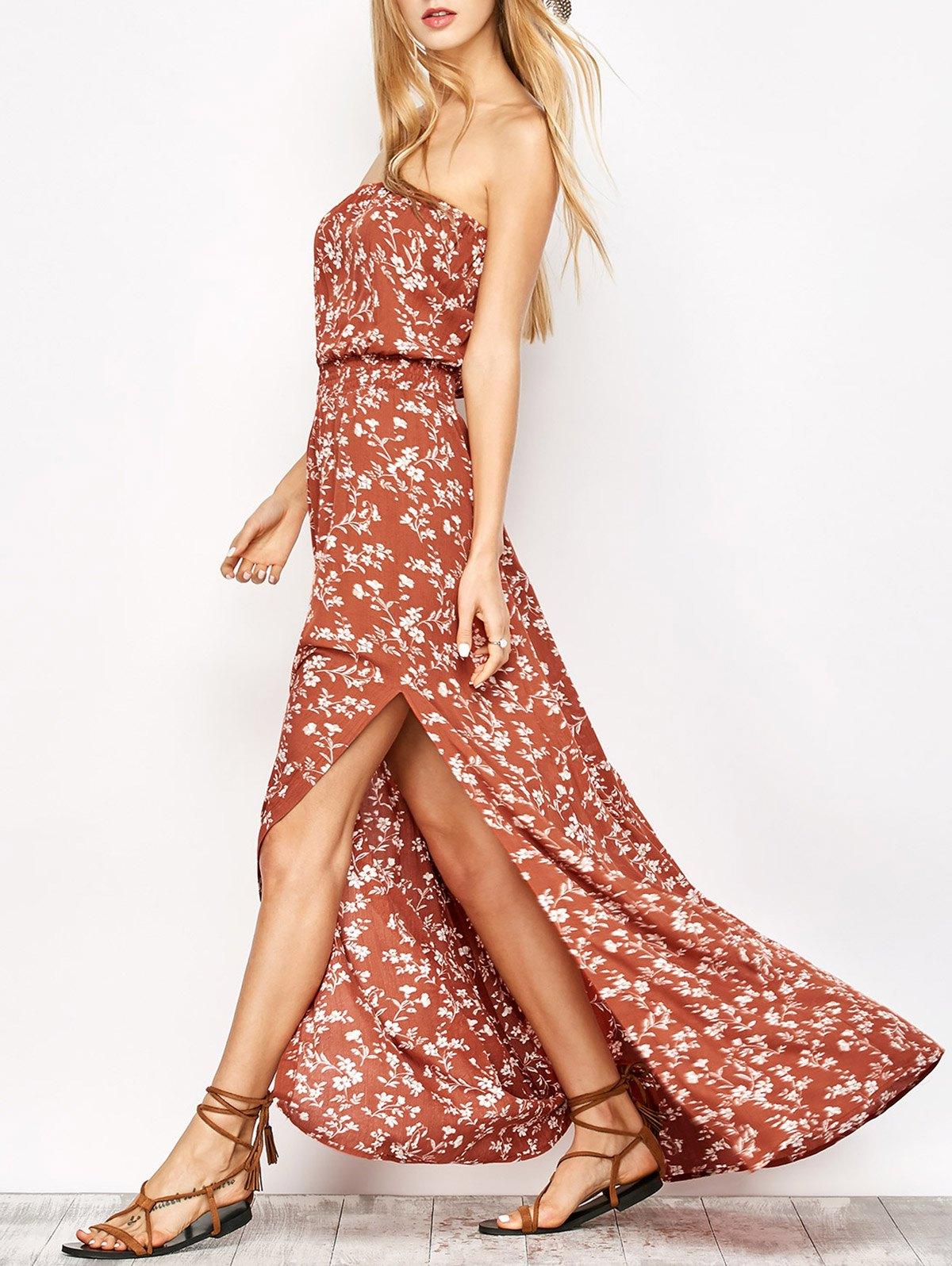 Strapless Maxi Tiny Floral Dress