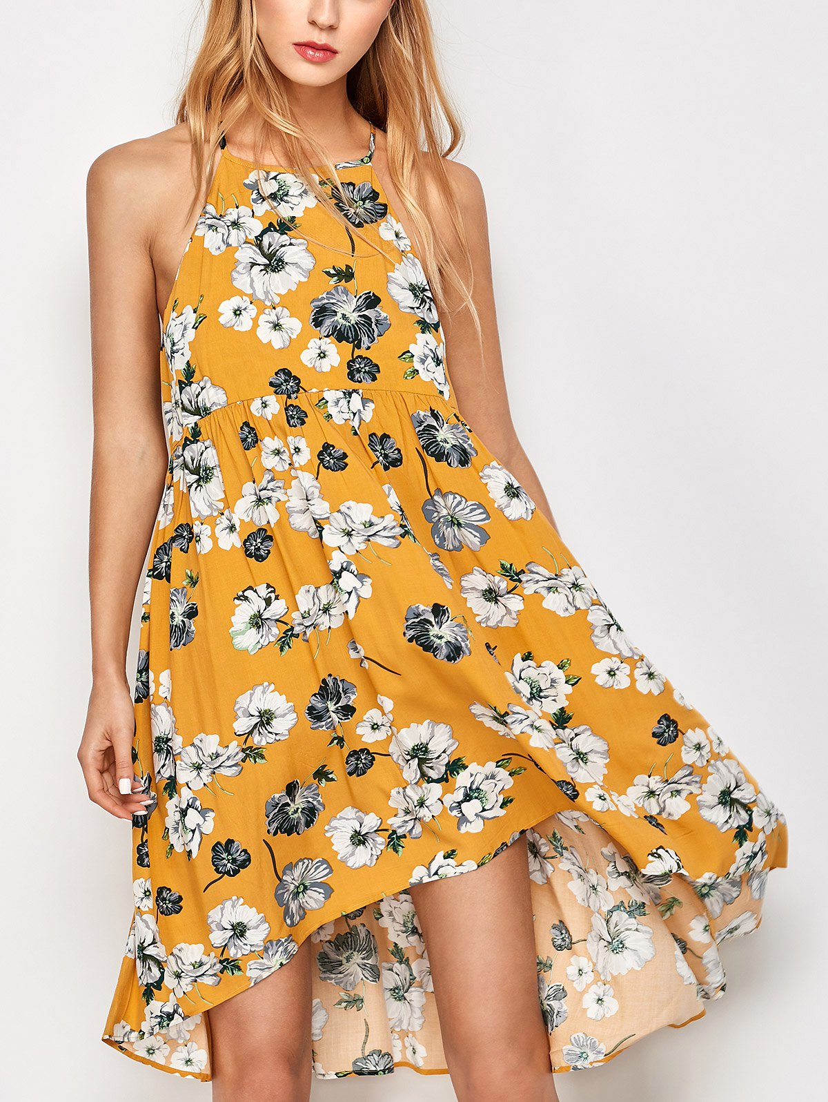 Mini Smock Sleeveless Floral DressClothes<br><br><br>Size: M<br>Color: GOLDEN