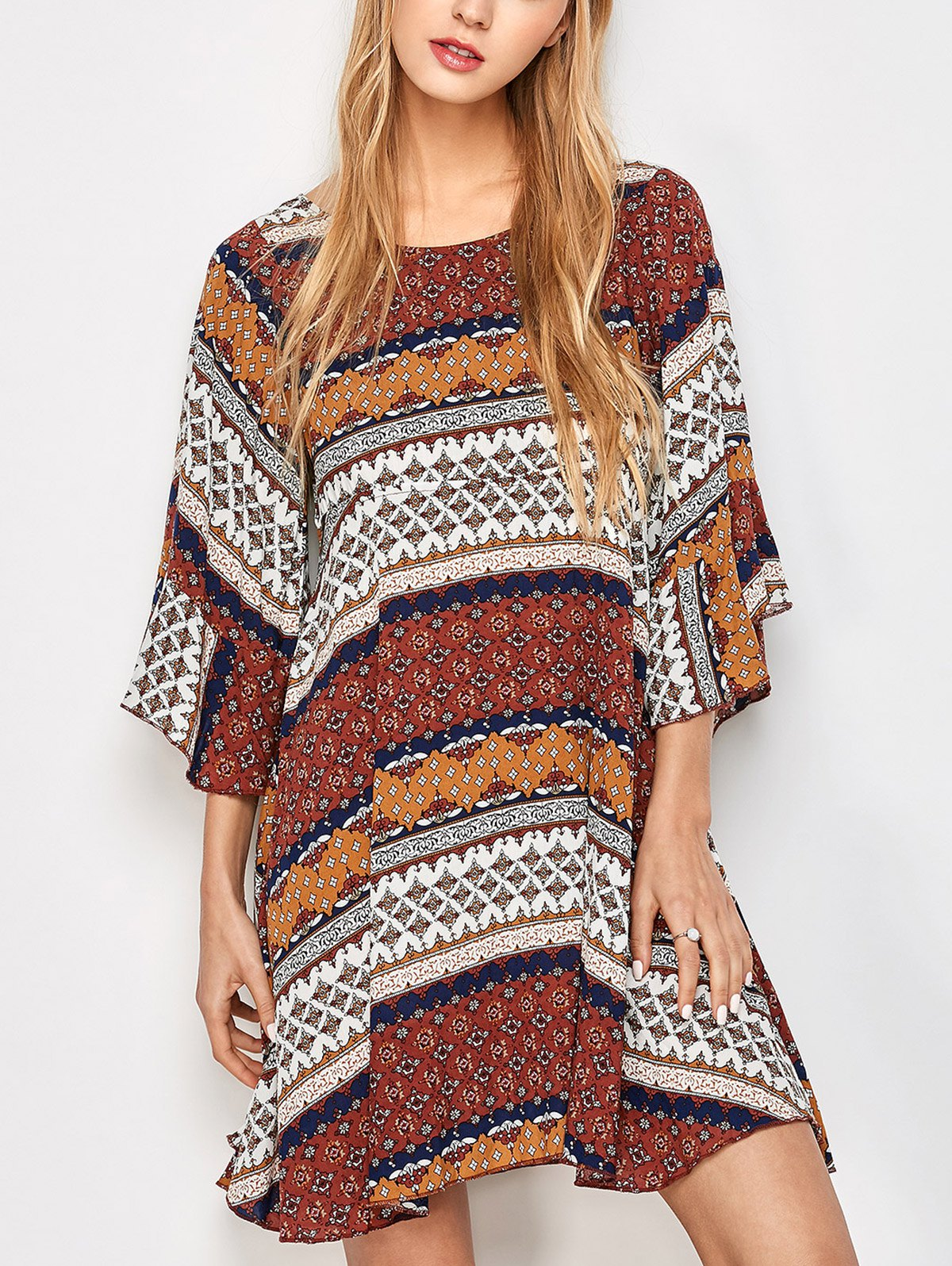 Tunic Tribal Print Criss Cross Kimono Dress