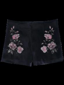 Floral Embroidered Velvet Shorts