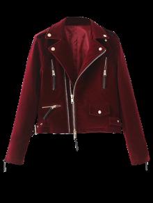 Lapel Velvet Biker Jacket - Burgundy