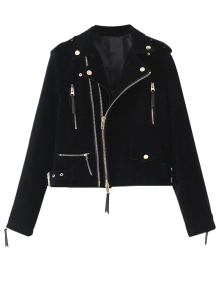 Lapel Velvet Biker Jacket - Cadetblue S