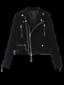 Lapel Velvet Biker Jacket - Cadetblue