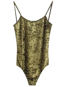 Skinny Velvet Bodysuit - Green