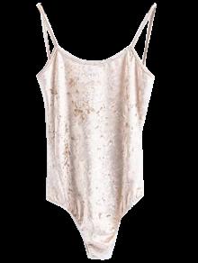 Skinny Velvet Bodysuit - Champagne