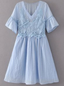 Flare Sleeve Lace Panel A-Line Dress - Light Blue S