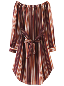 Striped Bowknot A-Line Dress - Brown S