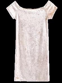 Casual Off The Shoulder Velvet Mini Dress - Champagne