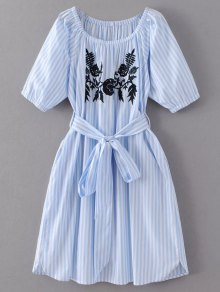 Striped Floral Embroidered Dress - Light Blue M