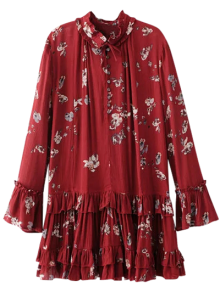 Floral Pleated Tunic Dress - Burgundy M