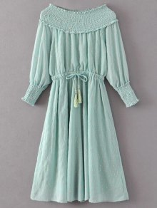 Off Shoulder Smocked Drawstring Embroidered Dress - Light Green