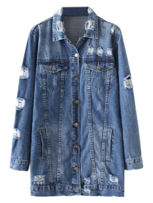 Bleach Wash Distressed Denim Coat - Denim Blue
