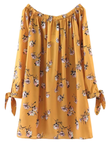 Floral Off Shoulder Shift Dress - Yellow