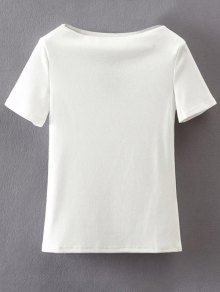 Slash Neck Short Sleeve Cotton T-Shirt - White S