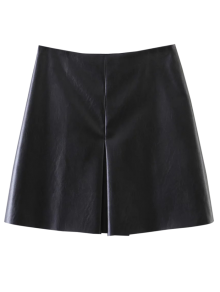 PU Leather Stretchy A-Line Skirt