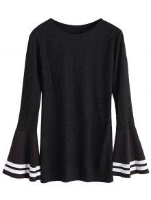 Contrasting Bell Sleeve Layering Top