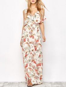 Side Slit Maxi Floral Dress - Floral