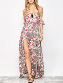 Maxi Off The Shoulder Floral Dress - Floral S