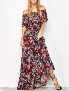 Ruffles Maxi Off The Robe Asymétrique - Floral