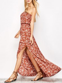 Tiny Floral Maxi Bandeau Dress - Orange Red