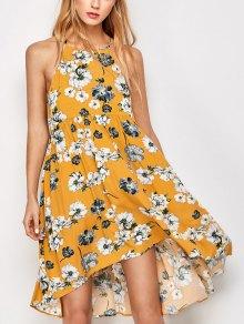 Mini Vestido De Oscilación De Bata De Flores Sin Manga - Dorado L