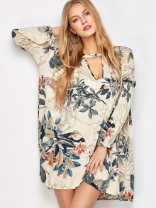 Plant Print Choker Long Sleeve Tunic Dress