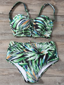 Lace Up Printed High Waist Bikini Set - Green M
