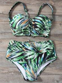 Ate para arriba Impreso de alta de la cintura del bikini Set
