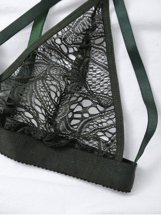 Crosscriss Cut Out Lace Bra - GREEN M Mobile
