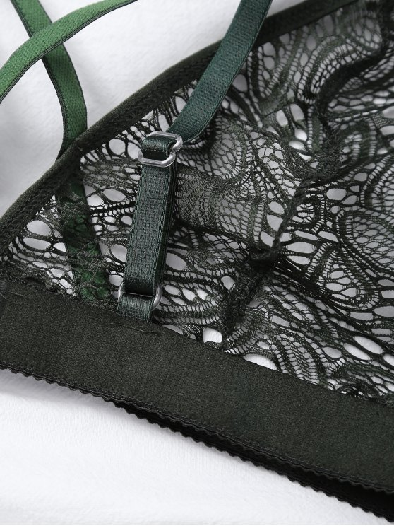Crosscriss Cut Out Lace Bra - GREEN S Mobile