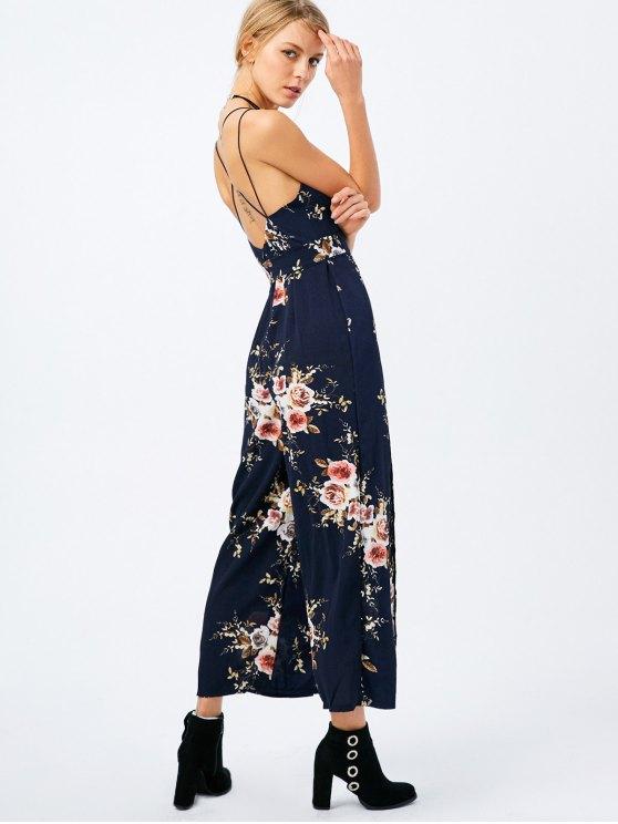 Maxi Floral Print High Slit Romper - PURPLISH BLUE S Mobile