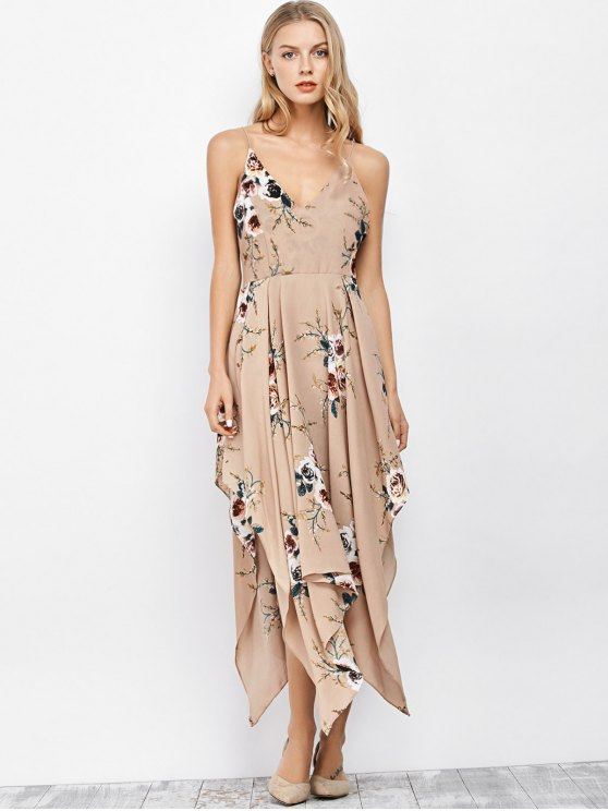 Spaghetti Strap Floral Print Maxi Handkerchief Dress - APRICOT M Mobile