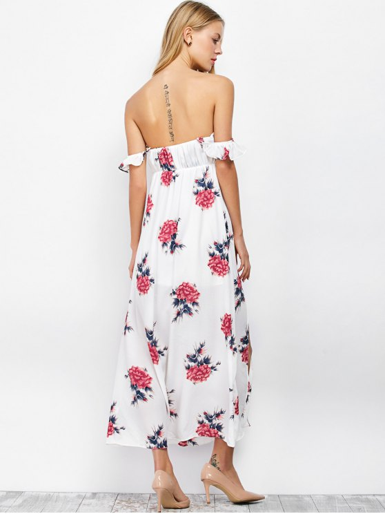 Maxi Off The Shoulder Floral Print Cocktail Dress - WHITE S Mobile