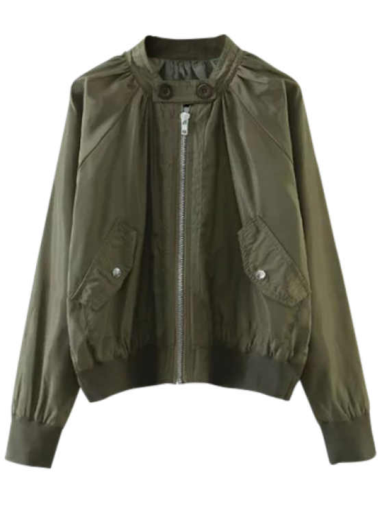 new Buttoned Zip-Up Bomber Jacket - ARMY GREEN M