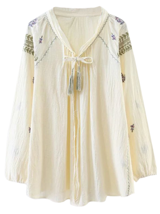 ladies Raglan Sleeve Boho Embroidered Blouse - BEIGE L