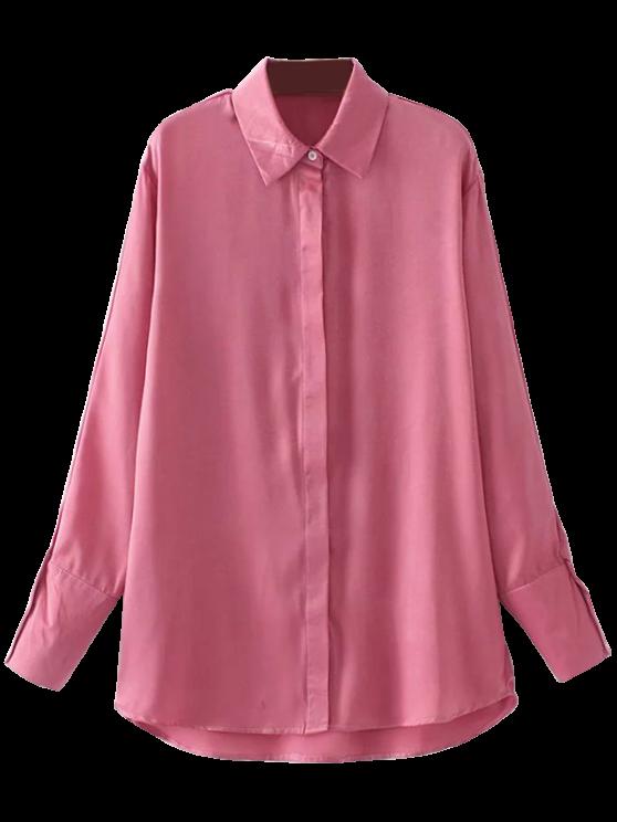 Camisa de satén bordado floral - Rosa M