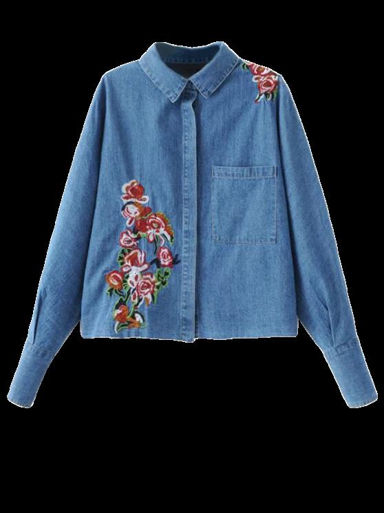 latest Oversized Embroidered Denim Shirt - DENIM BLUE M