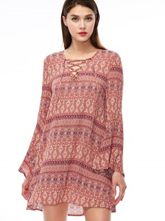 Lace Up Printed Bell Sleeve Dress - Coral Pink S