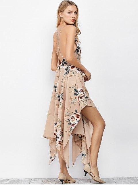 fashion Floral Maxi Handkerchief Casual Slip Dress - APRICOT M Mobile