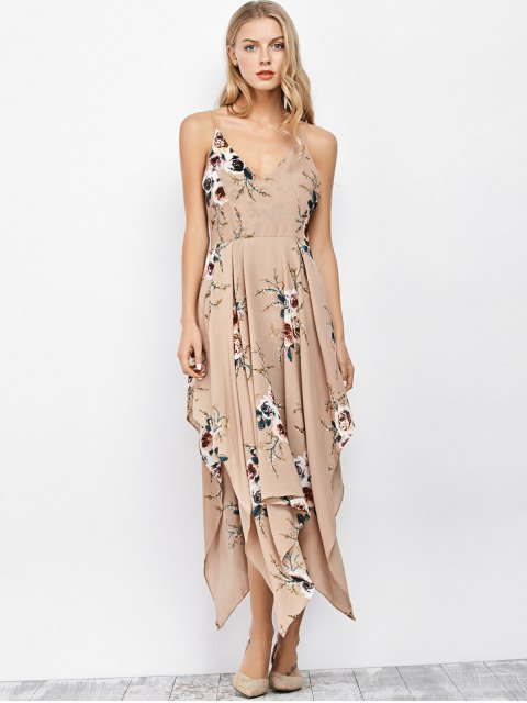 chic Floral Maxi Handkerchief Casual Slip Dress - APRICOT S Mobile