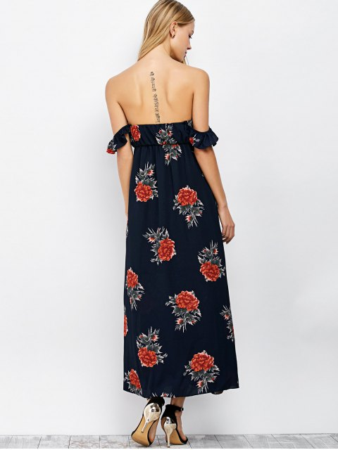 womens Maxi Floral Backless Off Shoulder Slit Dress - PURPLISH BLUE S Mobile