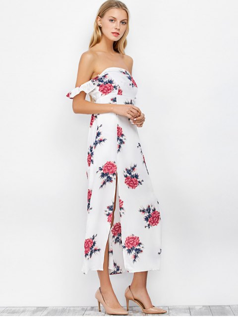 ladies Maxi Off The Shoulder Floral Print Cocktail Dress - WHITE M Mobile