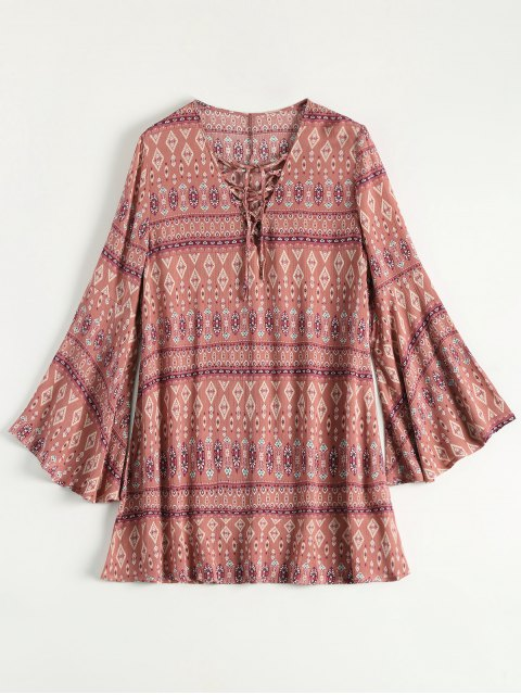 sale Lace Up Printed Bell Sleeve Dress - CORAL PINK S Mobile