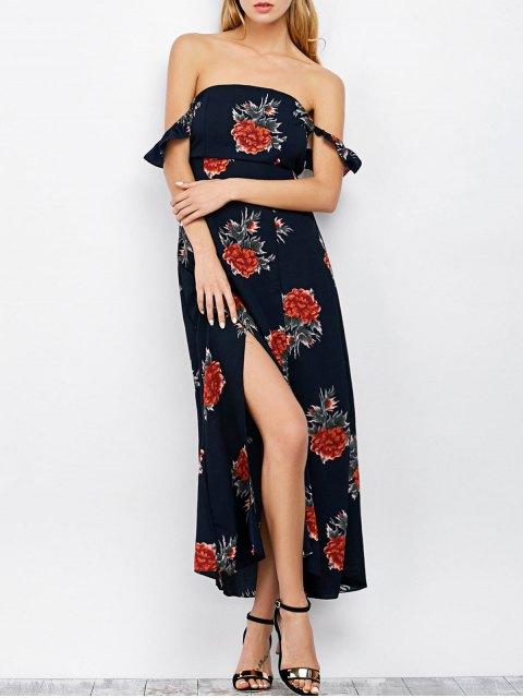 affordable Maxi Off The Shoulder Floral Print Cocktail Dress - PURPLISH BLUE L Mobile