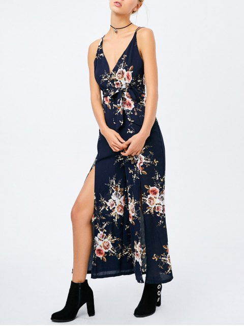 new Criss Cross High Slit Maxi Floral Flowy Jumpsuit - PURPLISH BLUE M Mobile