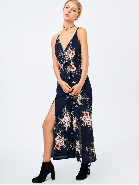 online Criss Cross High Slit Maxi Floral Flowy Jumpsuit - PURPLISH BLUE L Mobile