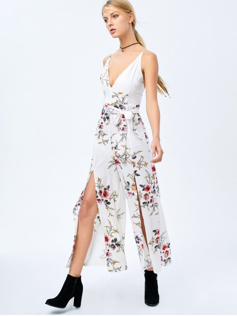 shops Criss Cross High Slit Maxi Floral Flowy Jumpsuit - WHITE S Mobile