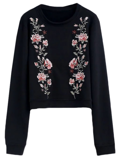 chic Relaxed Crew Neck Embroidered Sweatshirt - BLACK M Mobile