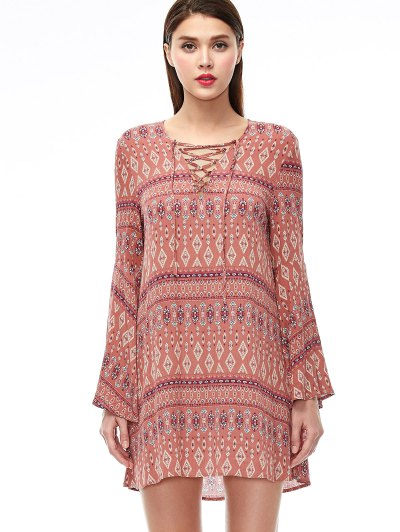 Lace Up Printed Bell Sleeve Dress - CORAL PINK M Mobile